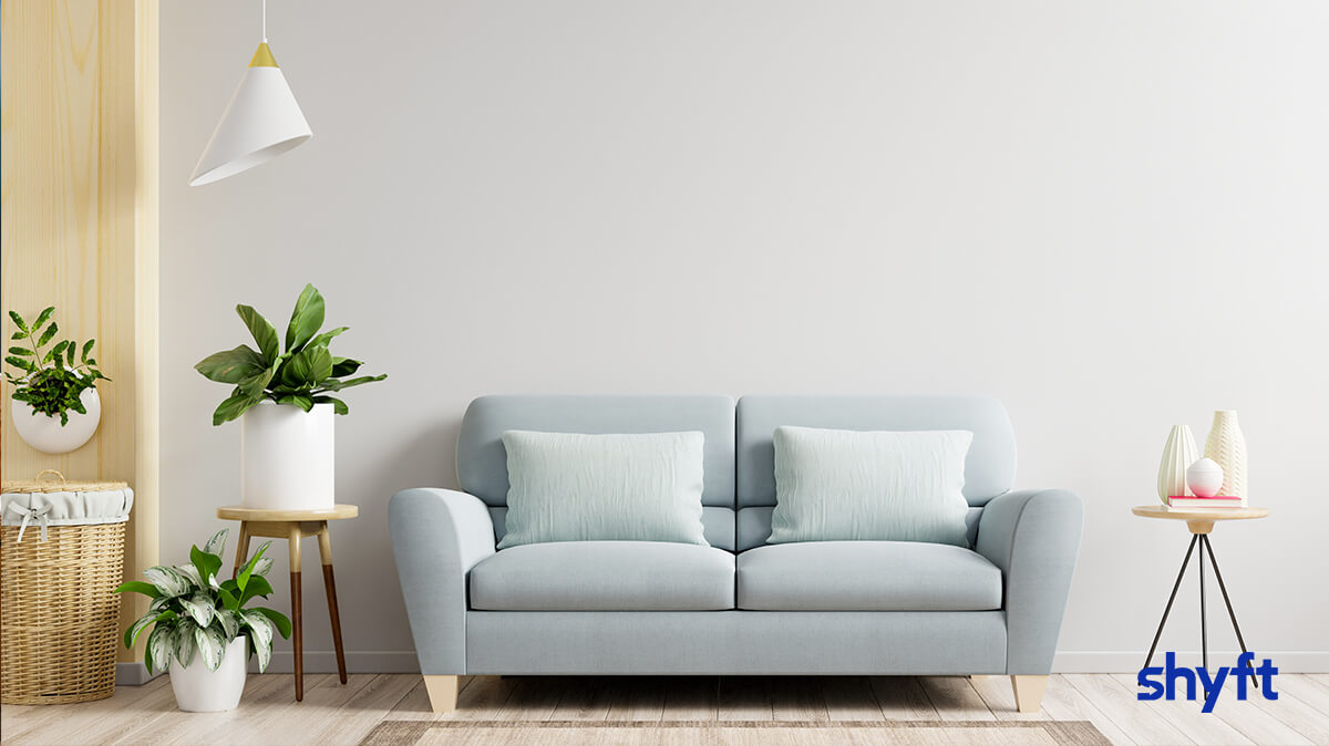 A light blue couch against a white wall, with plants to the left and a small table to the right