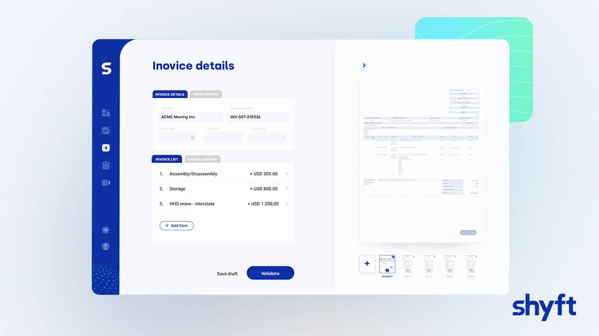 Screenshot of Shyft Instant Payments interface presenting the invoice, invoice details and invoice list
