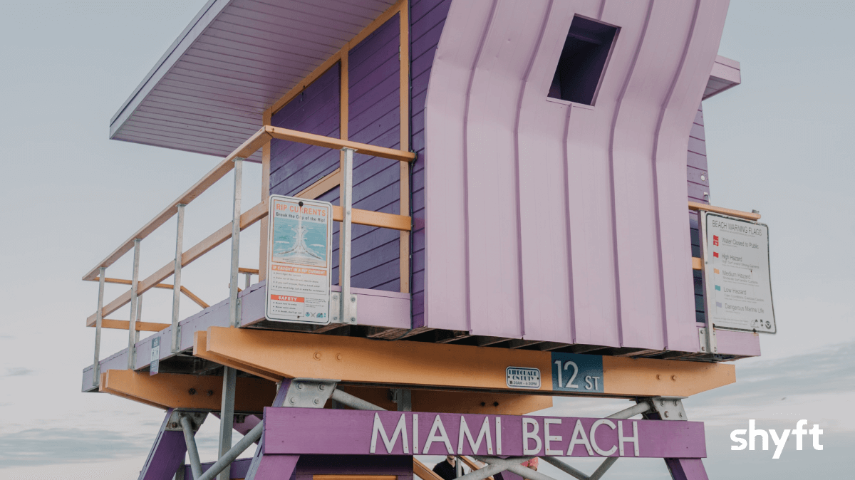 A unique looking lifeguard house on Miami Beach