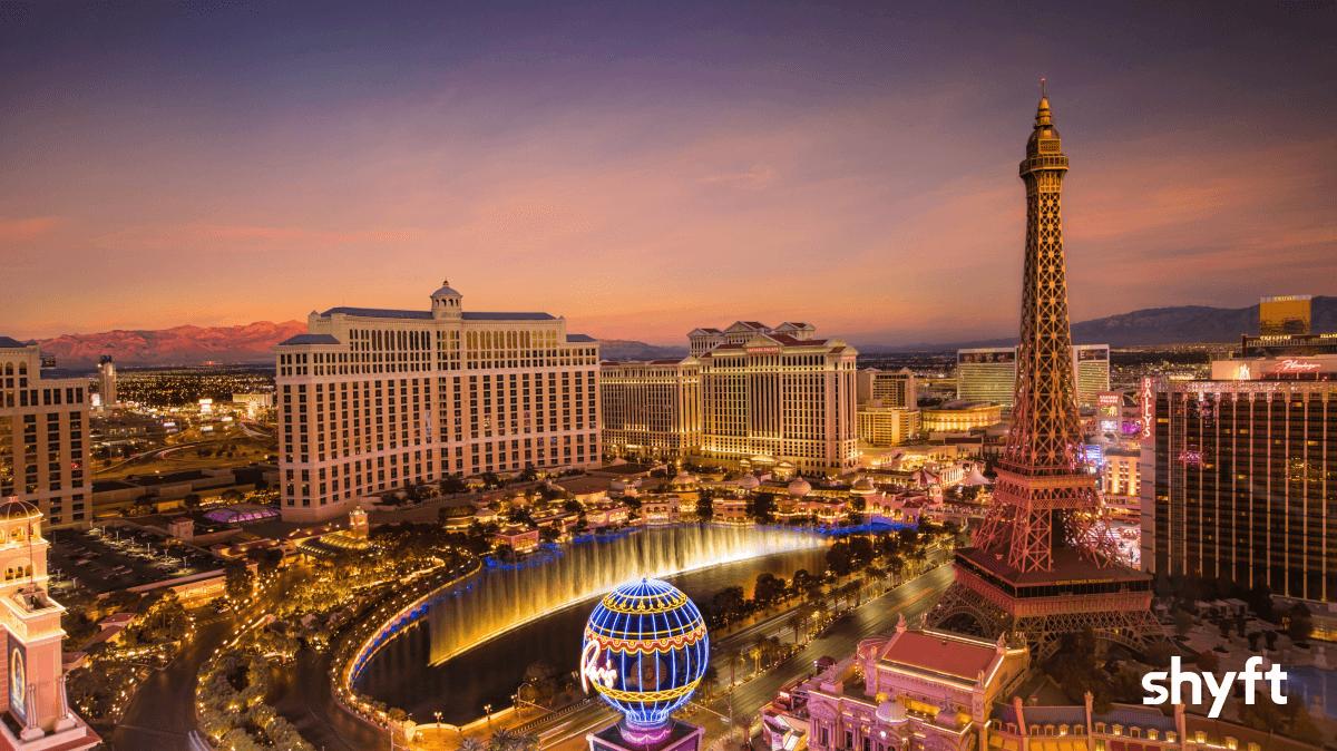 High angle of Las Vegas at sunrise or sunset