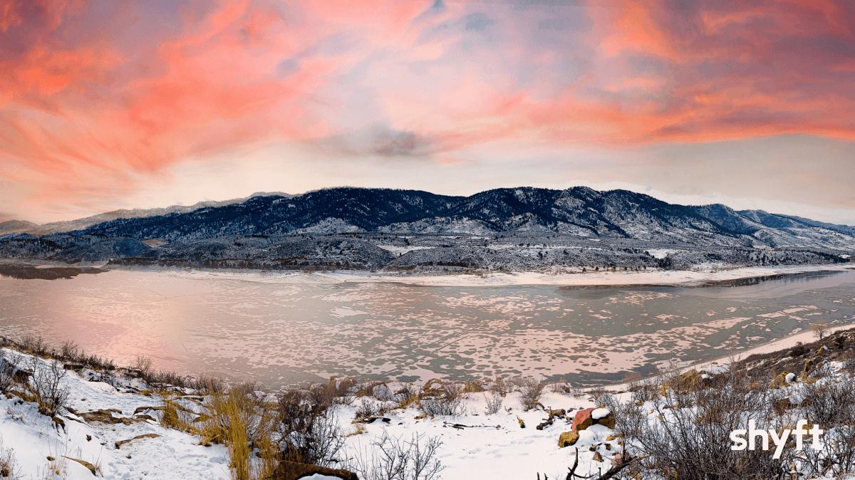 Horsetooth Reservoir during winter
