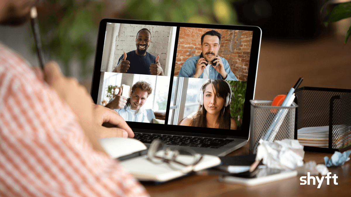 Remote workers having a zoom call in home office