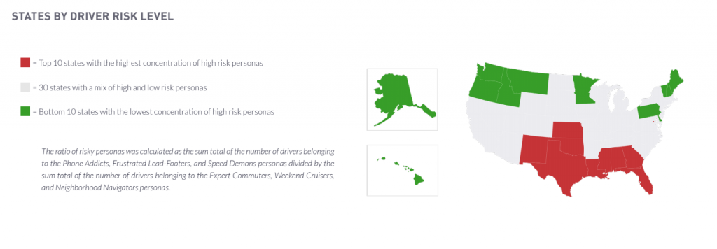 Driver persona - states by driver risk level