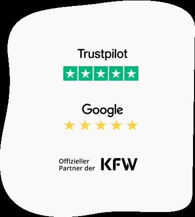5 Sterne bei Trustpilot und Google