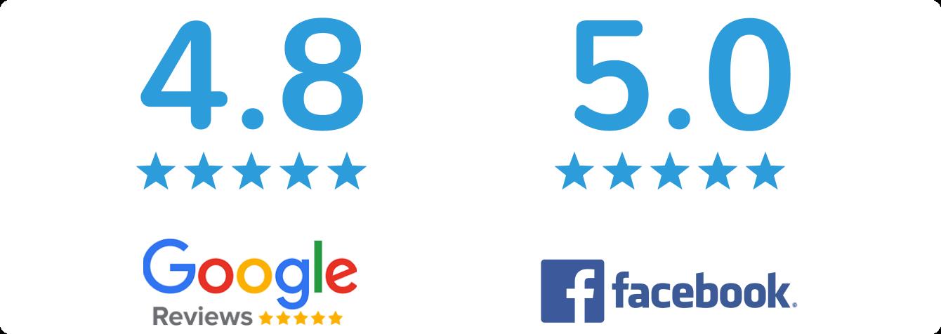 Google Reviews: 4.8 Facebook Reviews: 5.0
