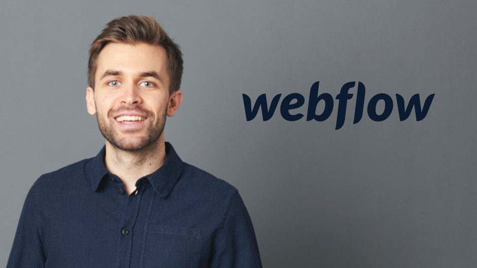 Jonas Arleth mit einem Webflow Logo daneben