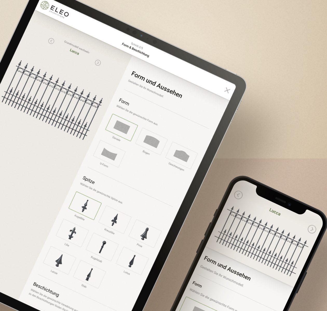 ELEO Zaun Konfigurator in einem iPad und iPhone Mockup
