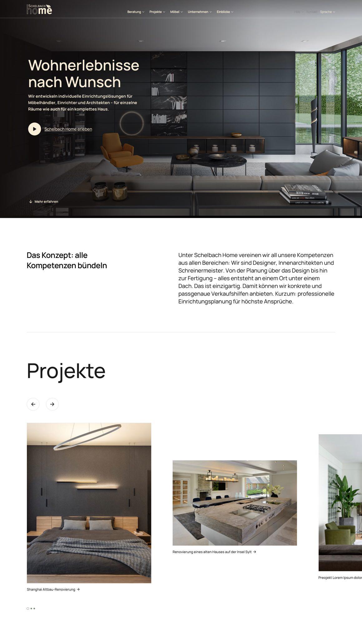 Schelbach Home Webdesign Projekt Layout
