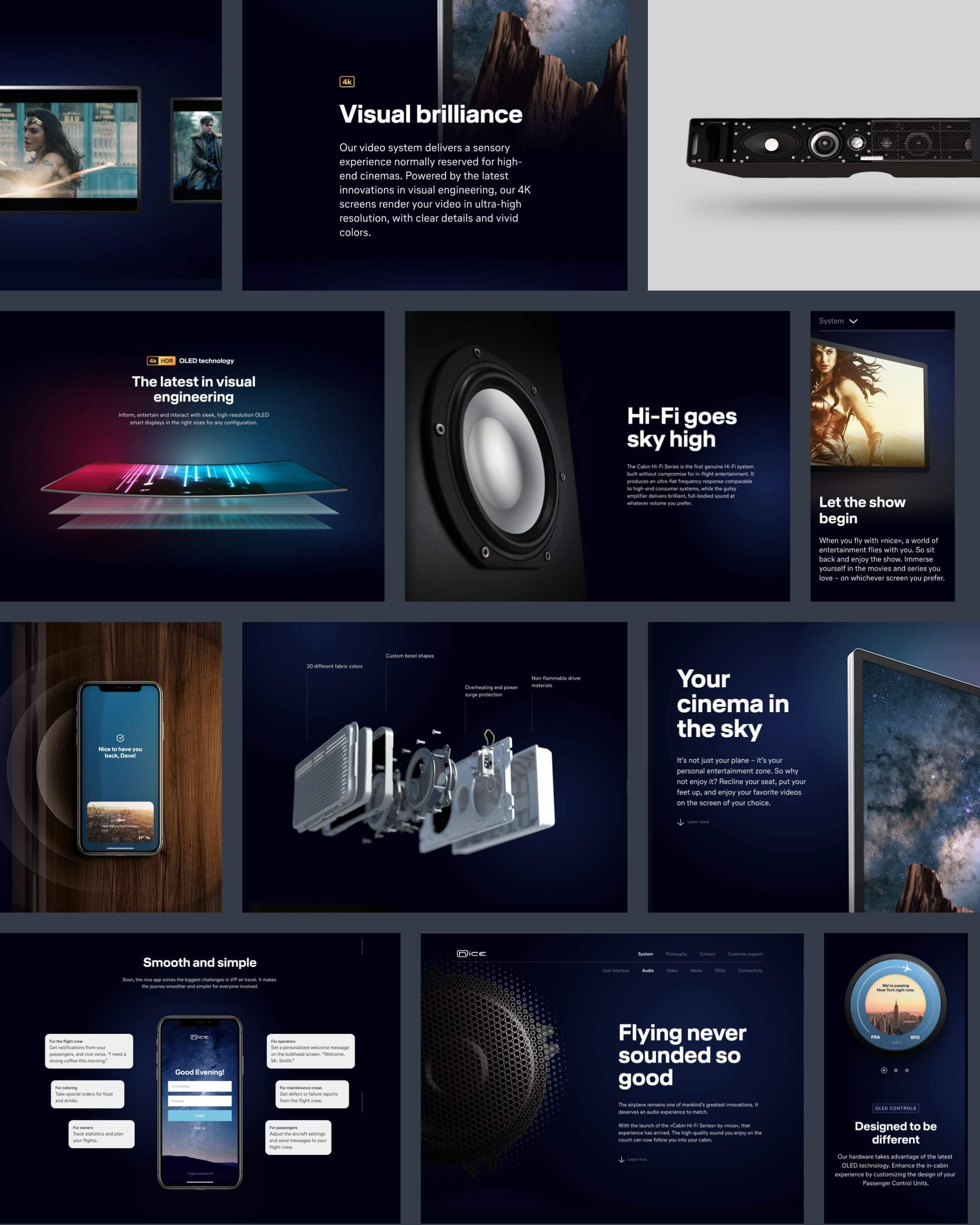 nice inflight entertainment Website Layout Collage