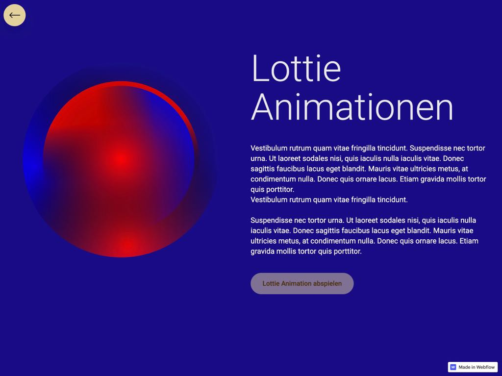 Webdesign Lottie Animations-Layout aus dem Webflow Onlinekurs