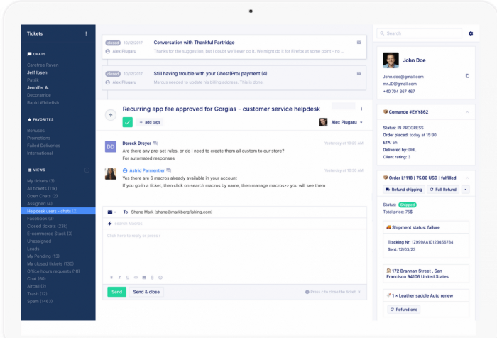 Gorgias multichannel helpdesk software screenshot