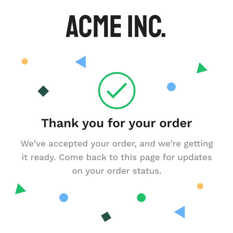 Thank you for your order example