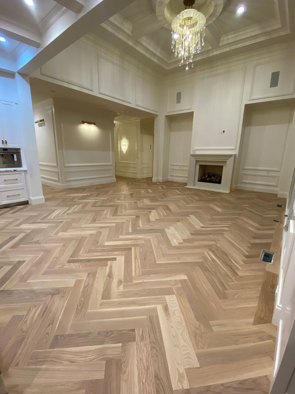 Beautiful hard wood floor install in a large house.