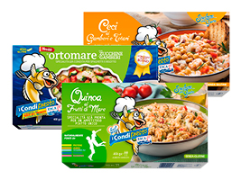 CondiPresto Esca Ceci ai Gamberi e Totano, Quinoa ai Frutti di Mare e Ortomare con Zucchine e Gamberi