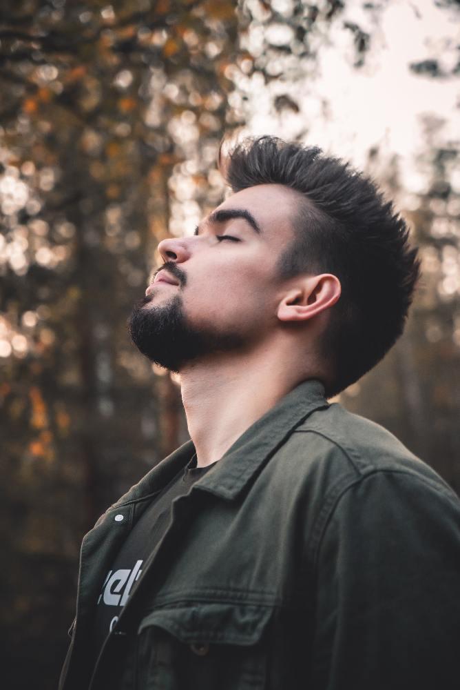 man breathing