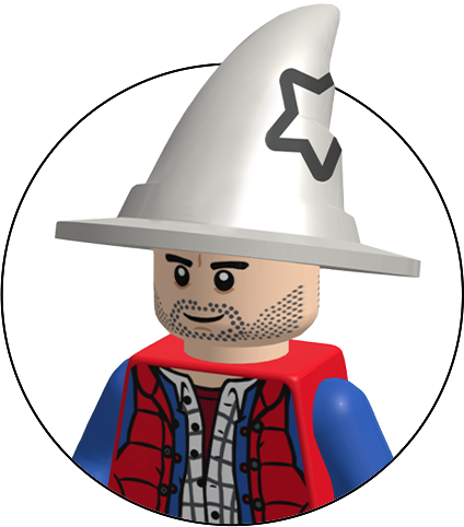 lego figure of the creator of wizard pi.  Male figure in wizard hat and holding a phone
