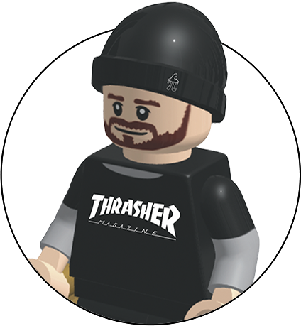Lego figure of the web designer at wizard pi. Male figure in thrasher clothing and holding a skateboard