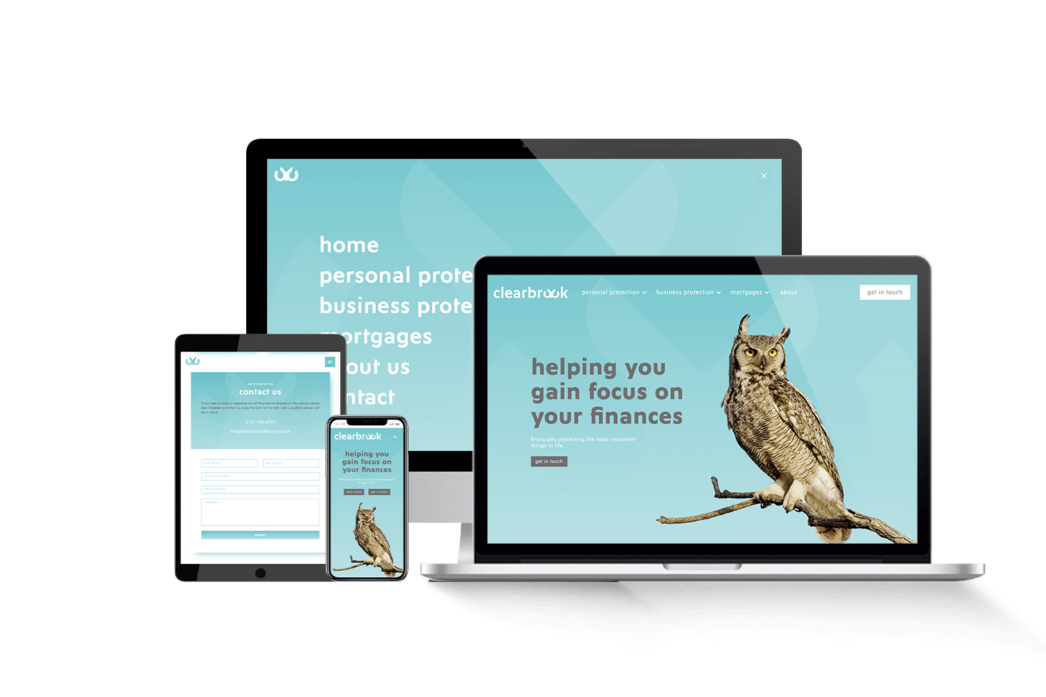 Laptop, tablet and phone screens showing a designed financial website. Blue background and owl on the screen.