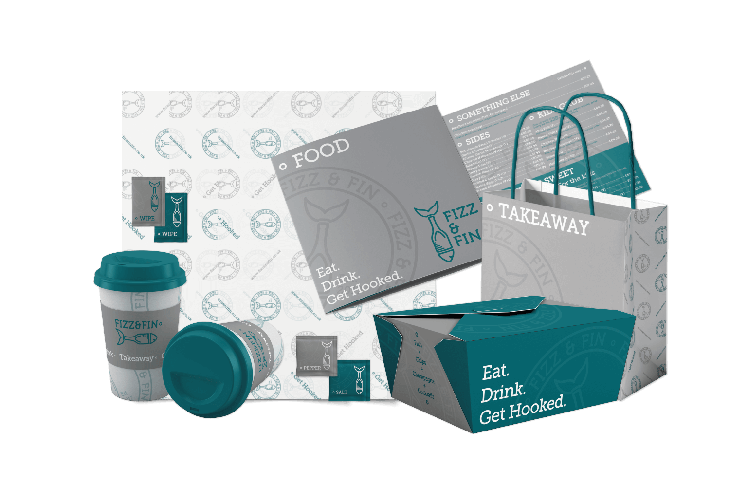 Group of branded merchandise for a fish restaurant.  Designed menus, bags, cups made by wizard pi.