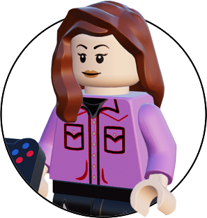 Lego figure of the digital marketing specialist at wizard pi. Female, brown hair figure holding a controller.