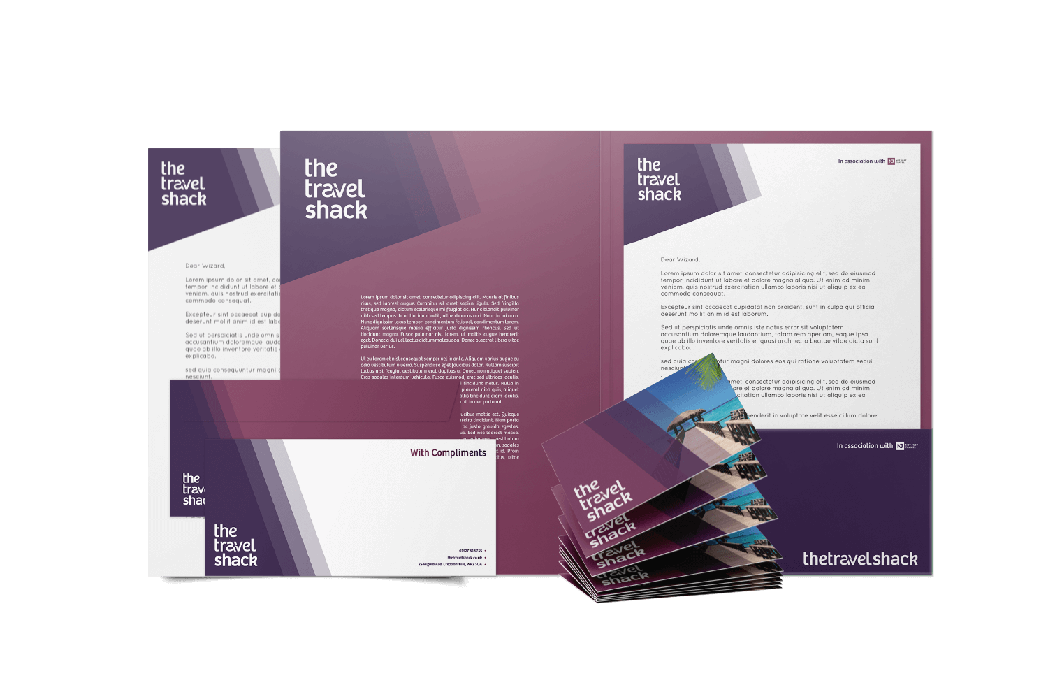 Pink and purple branded business cards and letterheads