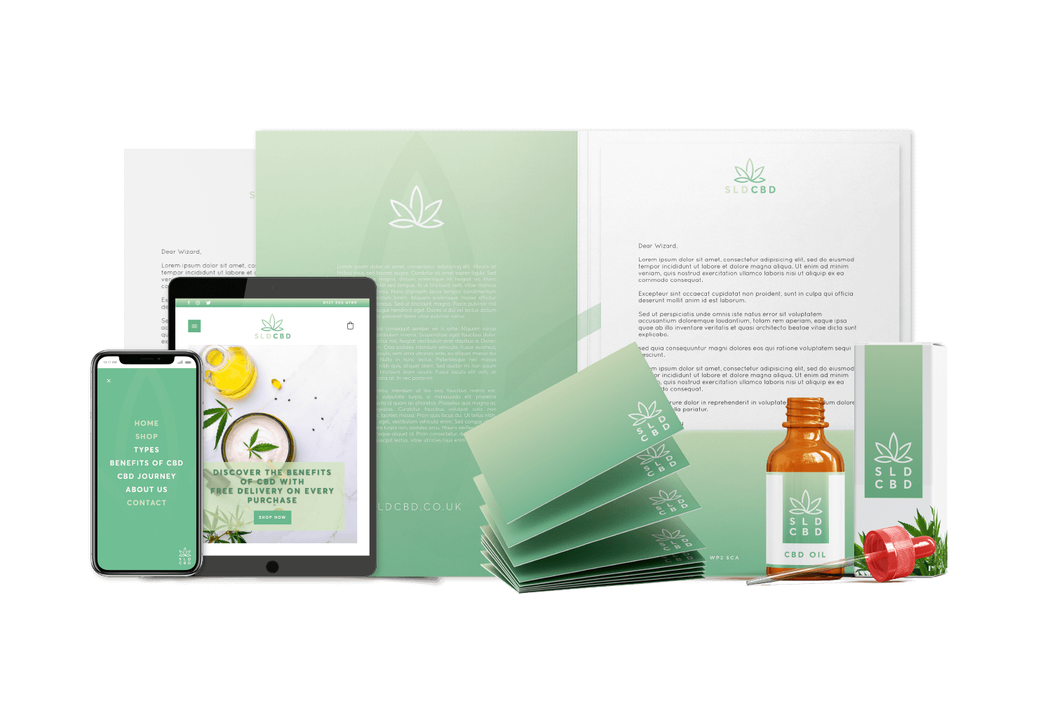 Example of green coloured branding materials for a company