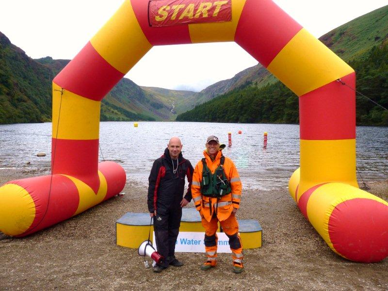 Johnny and Wayne of Open Water Swimmer at the inflatable start line.