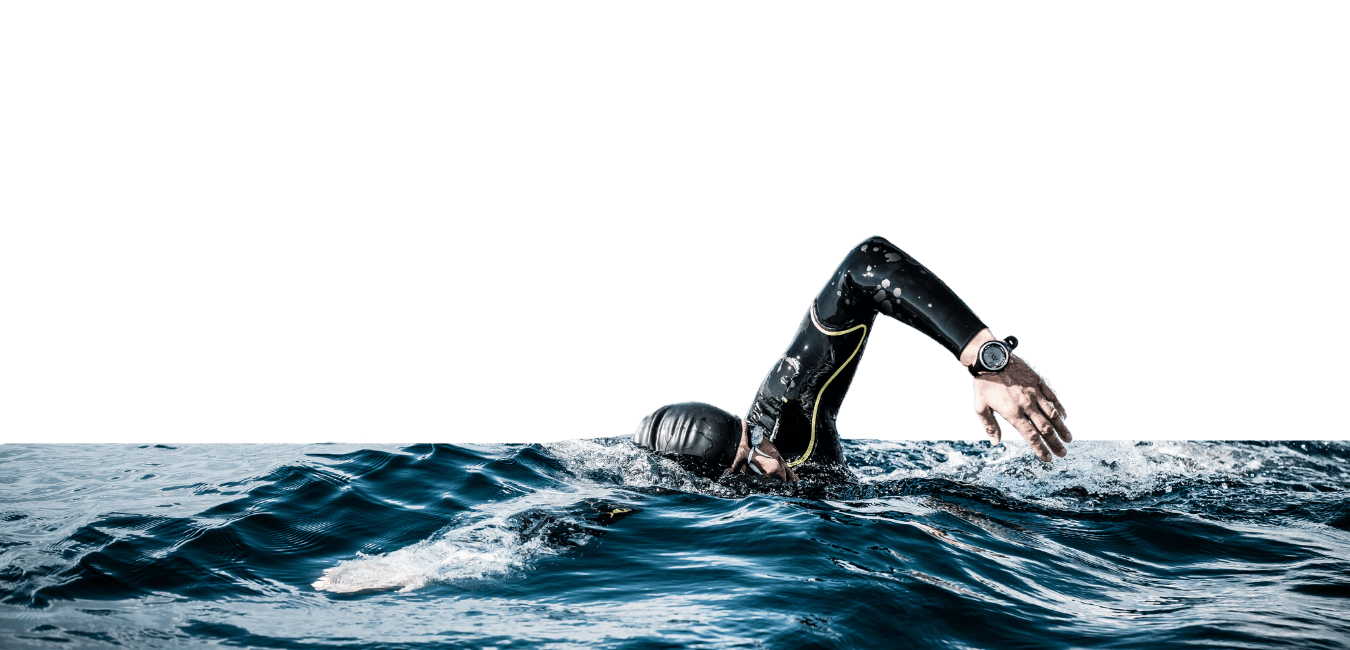 Open water swimmer swimming towards the camera