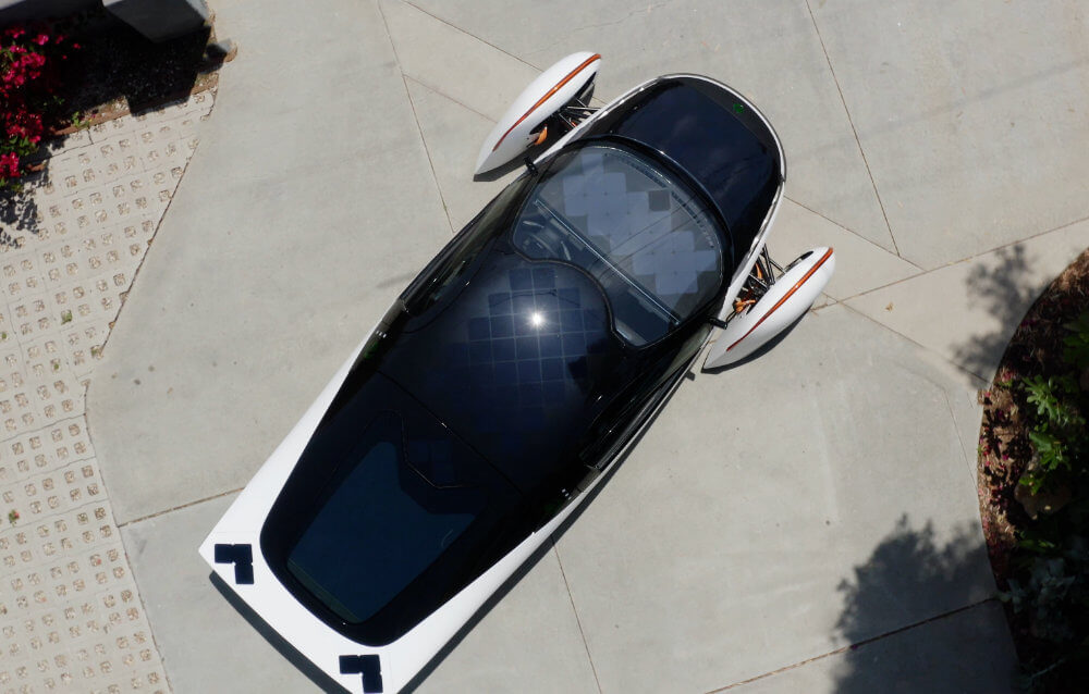 View of Aptera solar vehicle from above