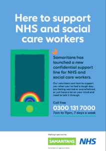 Samaritans Support for NHS and Social Care Workers