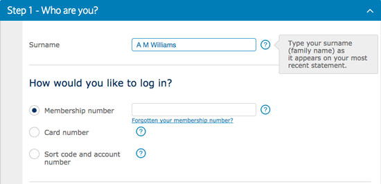Online Form showing extra information to the user