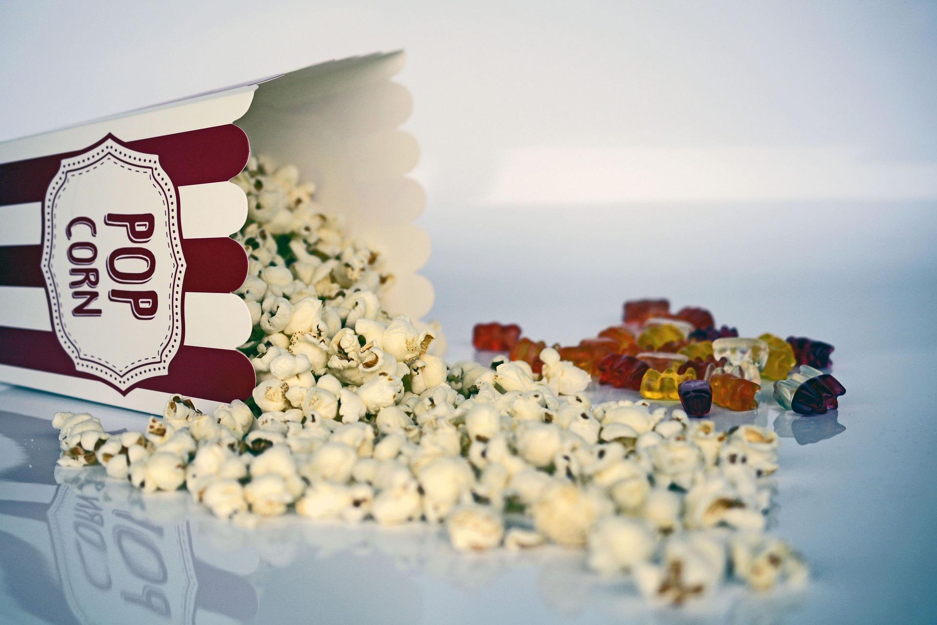 Popcorn box and gummy bears