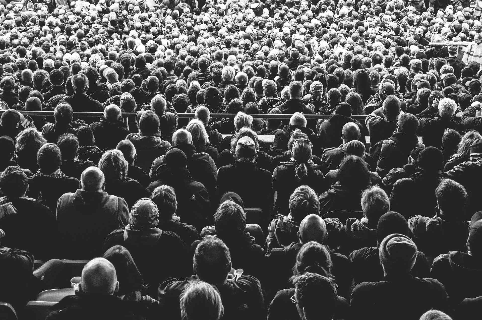 Black and white image of audience