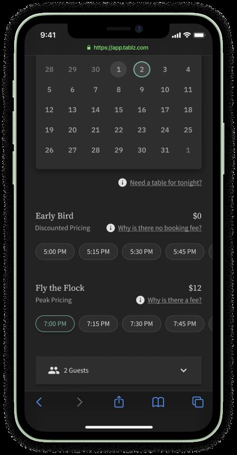 Tablz Booking Screen Grab