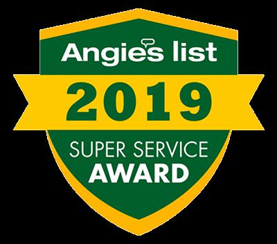 A 2019 Angie's List award badge.