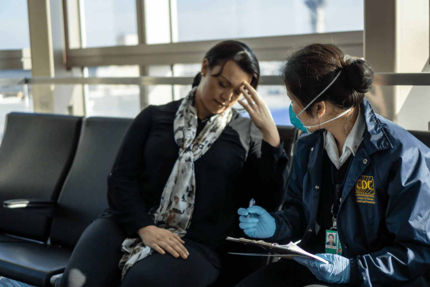 CDC worker interviewing person