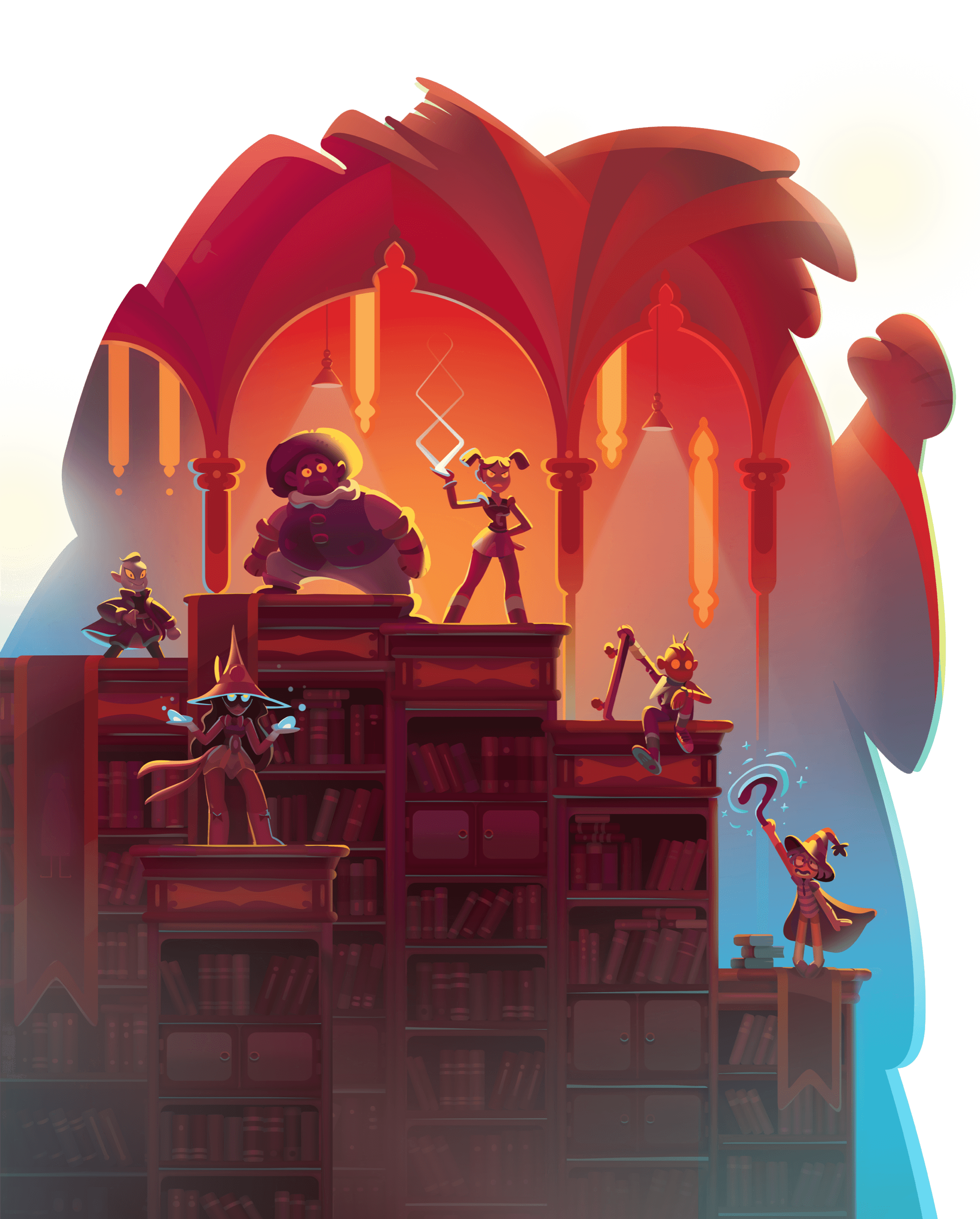 Various monsters standing atop book shelves in the silhouette of of the Tomekeeper