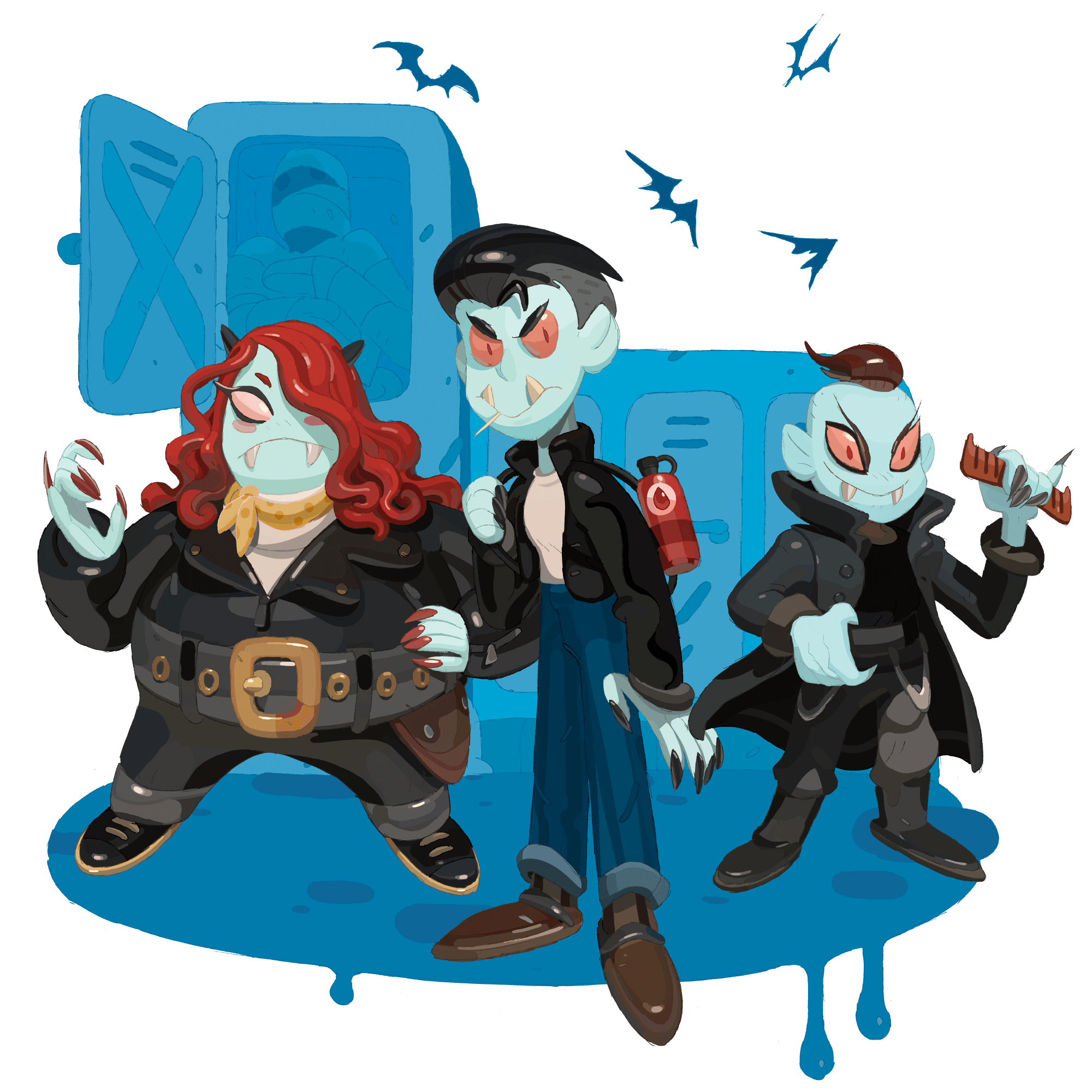 Three stylized vampires standing in front of an abstract school background.