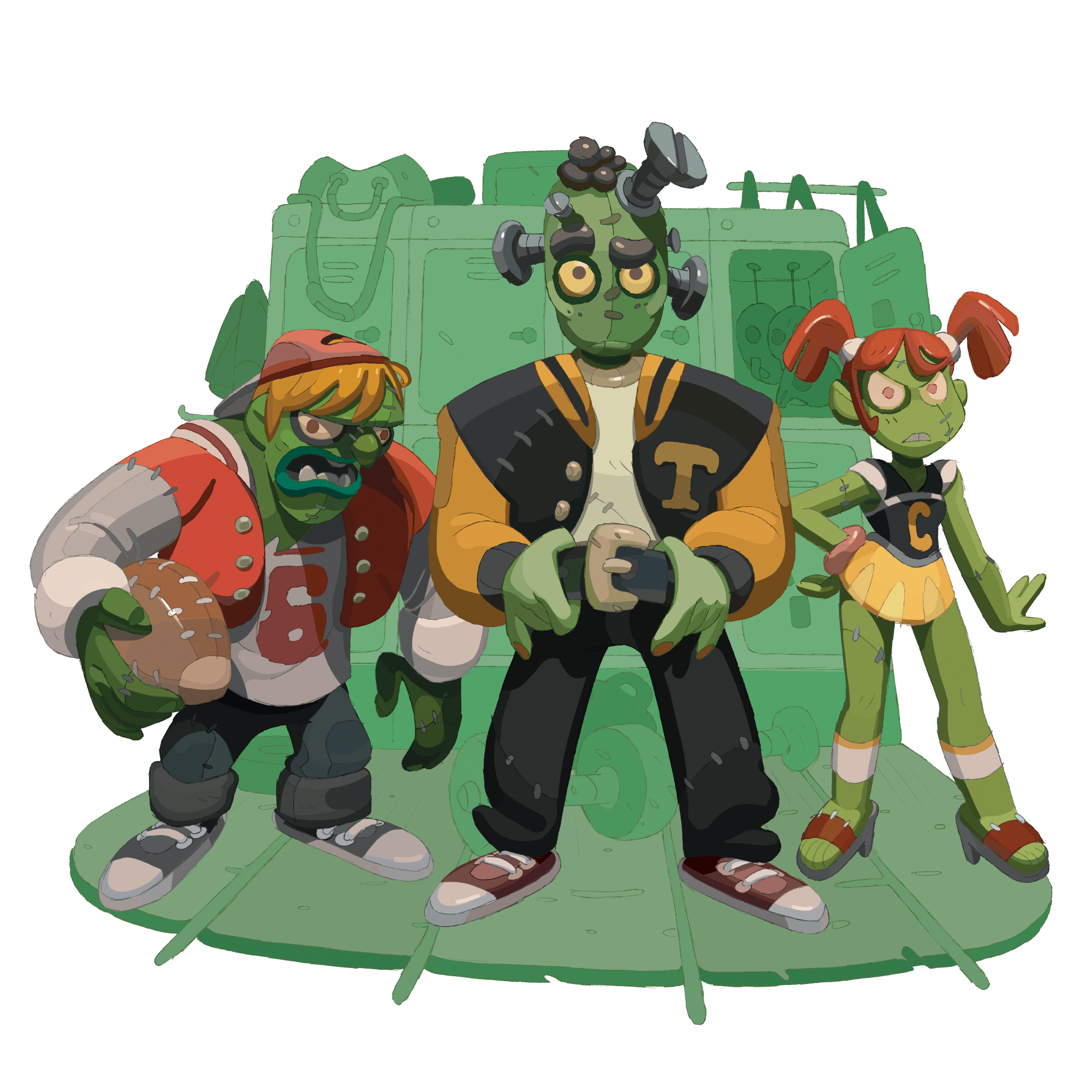 Three stylized frankensteins monsters standing in front of an abstract school background.