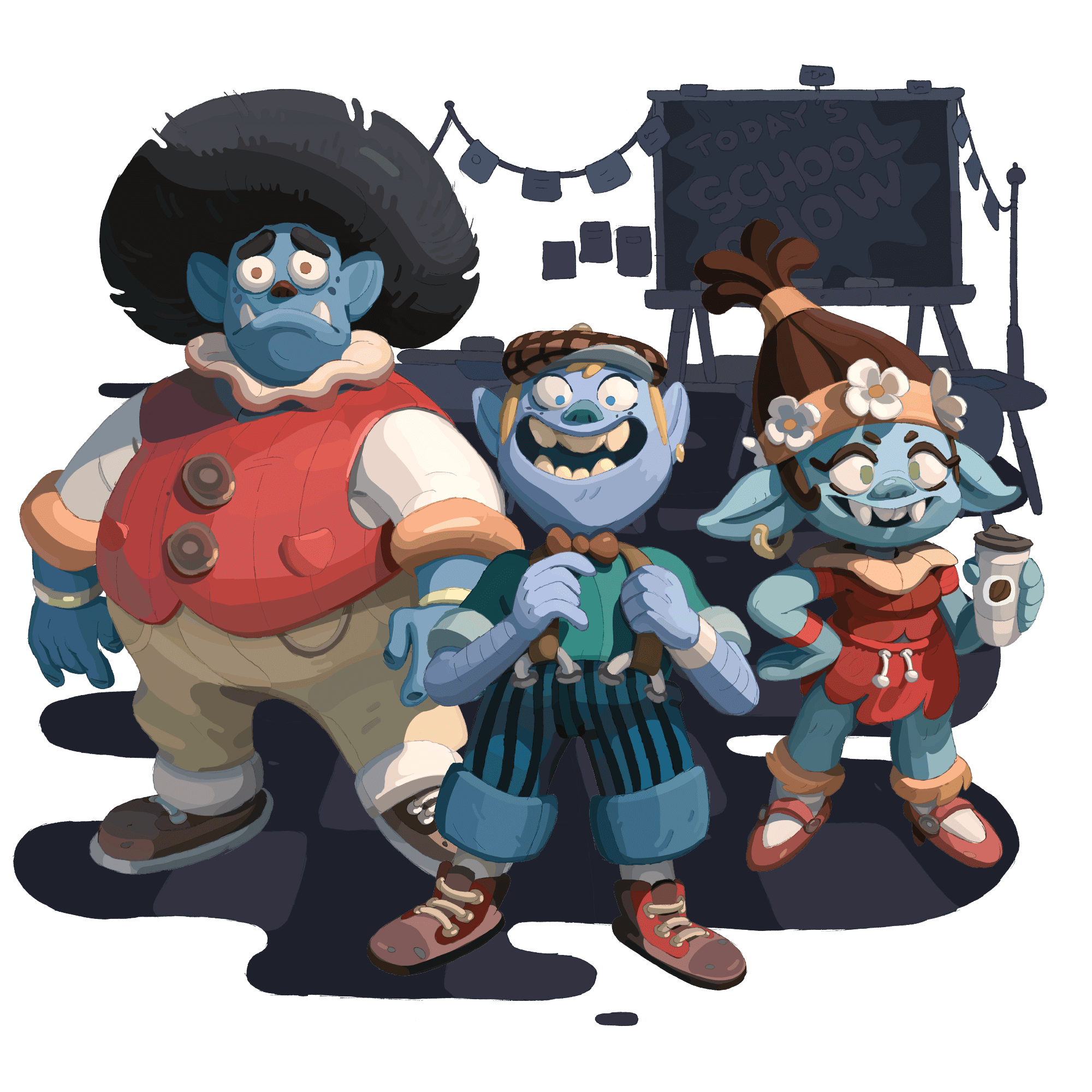 Three stylized trolls standing in front of an abstract school background.