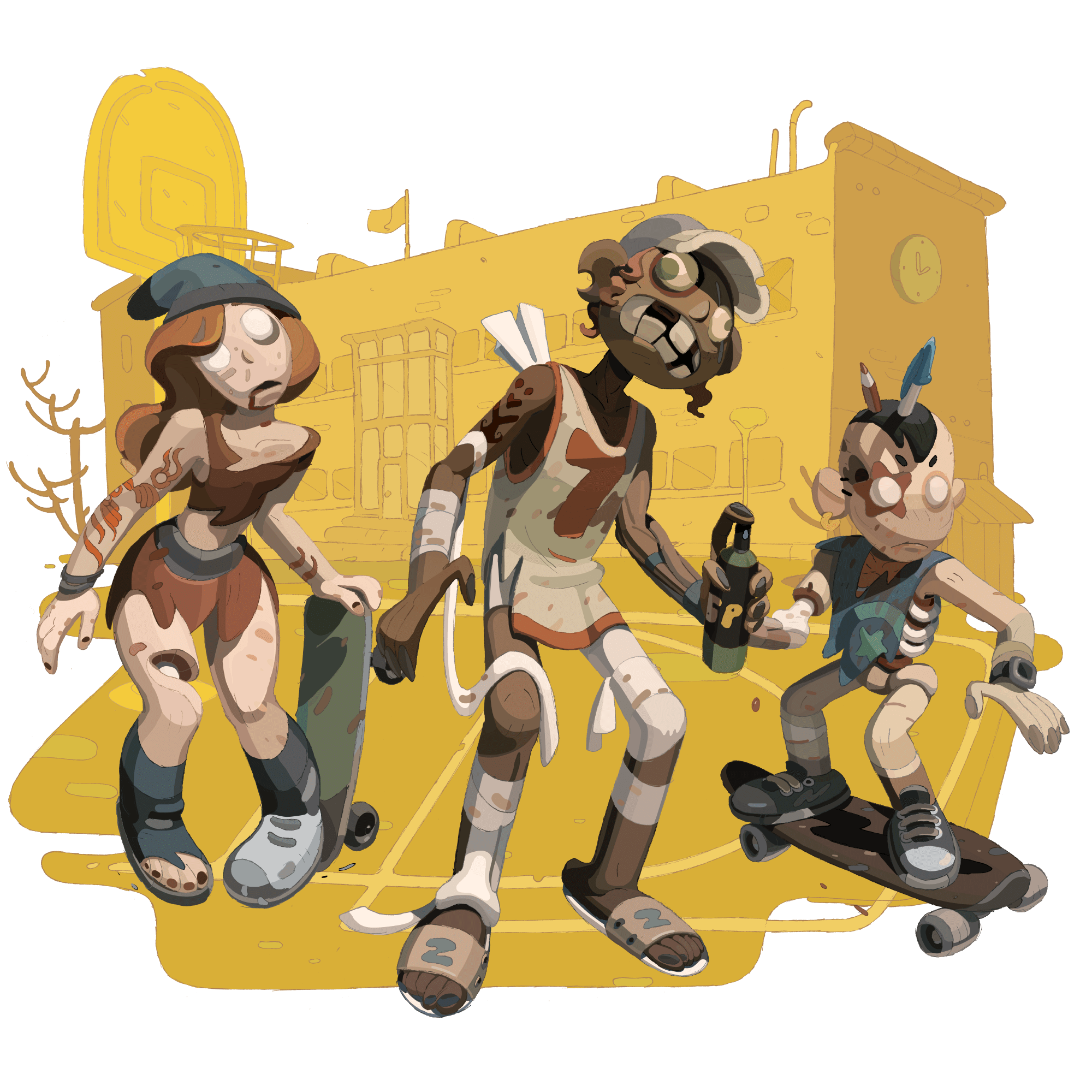 Three stylized zombies standing in front of an abstract school background.