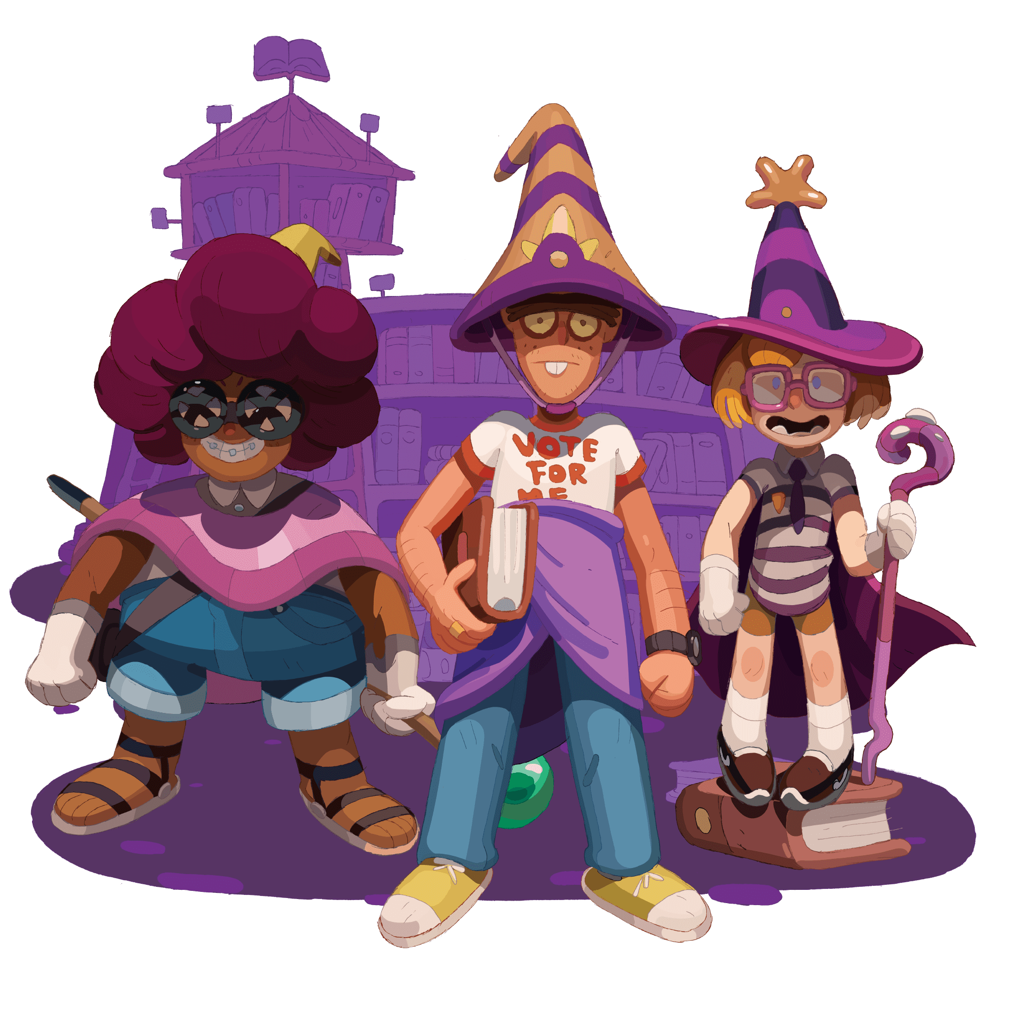 Three stylized wizards standing in front of an abstract school background.
