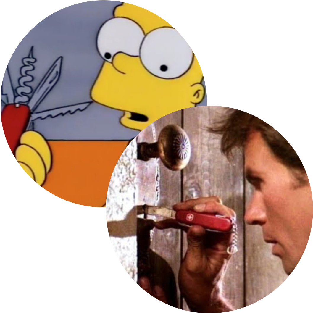 Bart Simpson and MacGyver make use of the Swiss Army Knife.