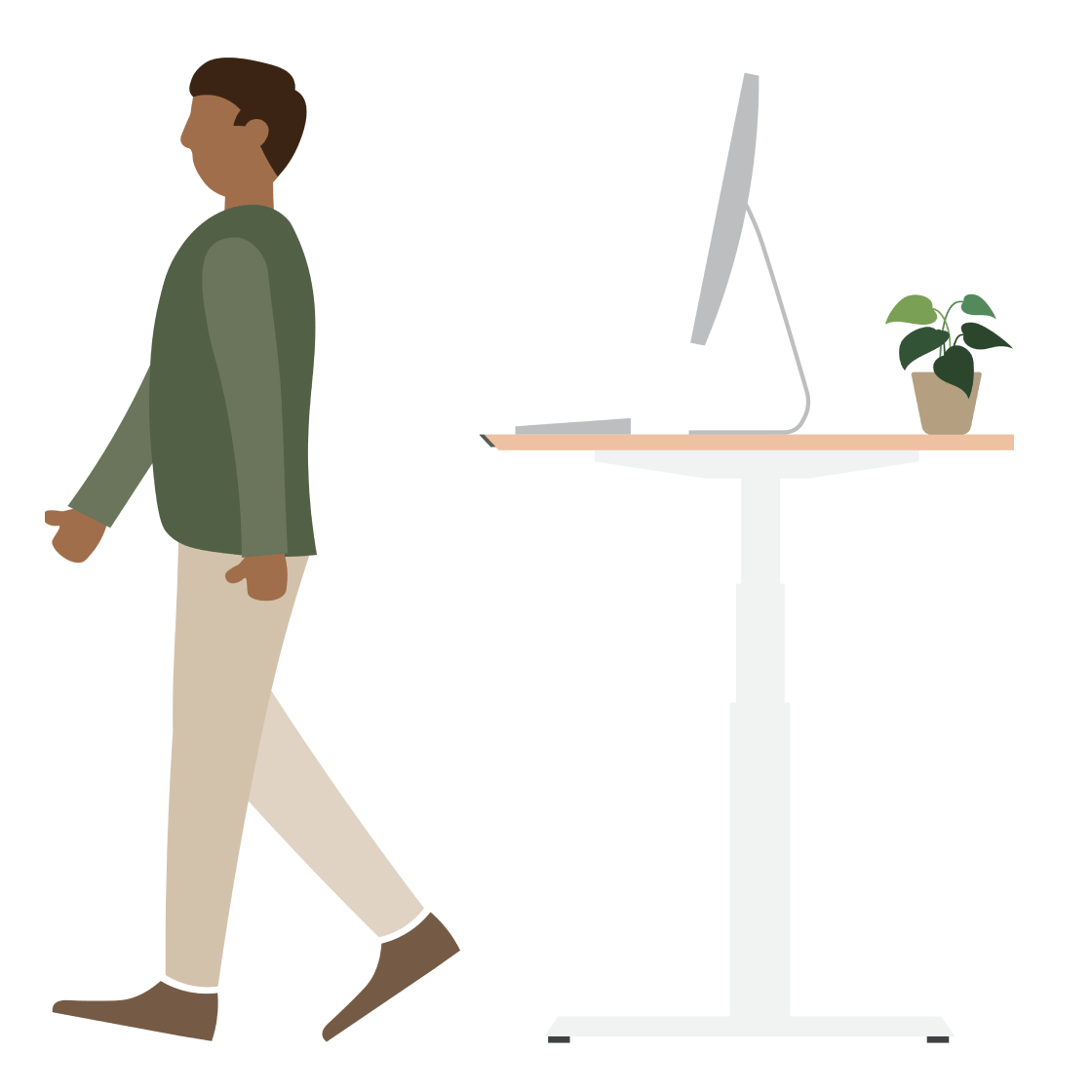 An illustration of a man walking away from a standing desk