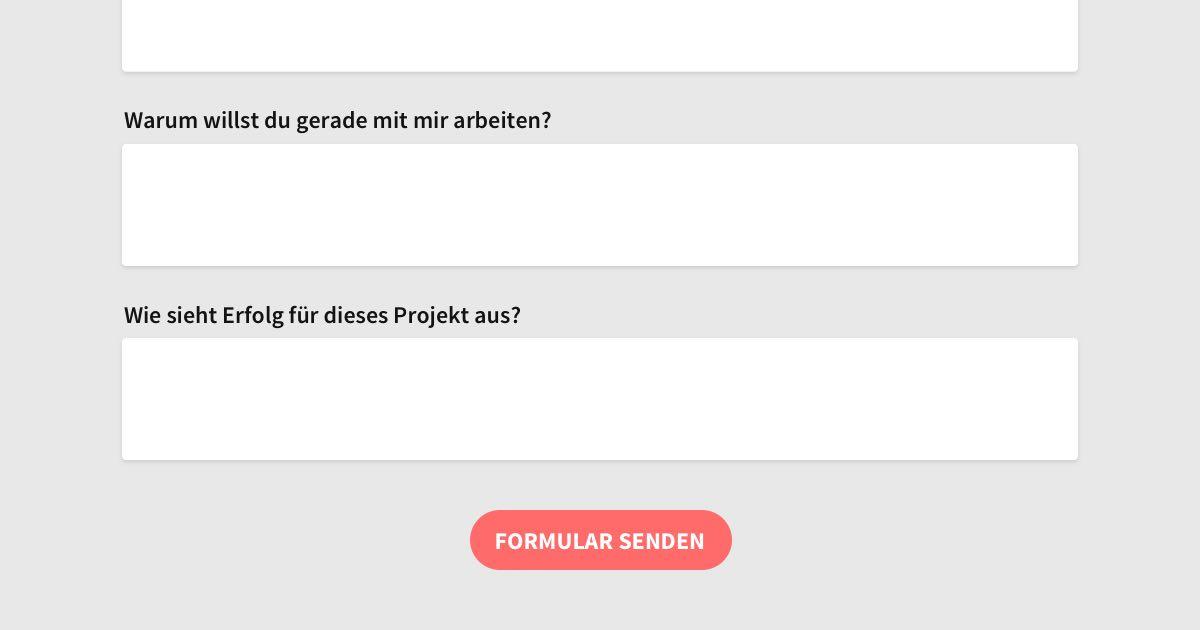 Portfolio Redesign: Das Projektanfrage-Formular