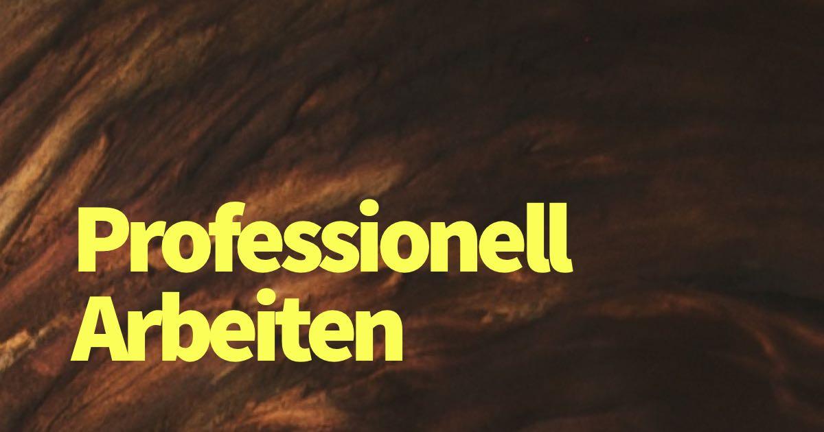 Was heißt professionell arbeiten wirklich?