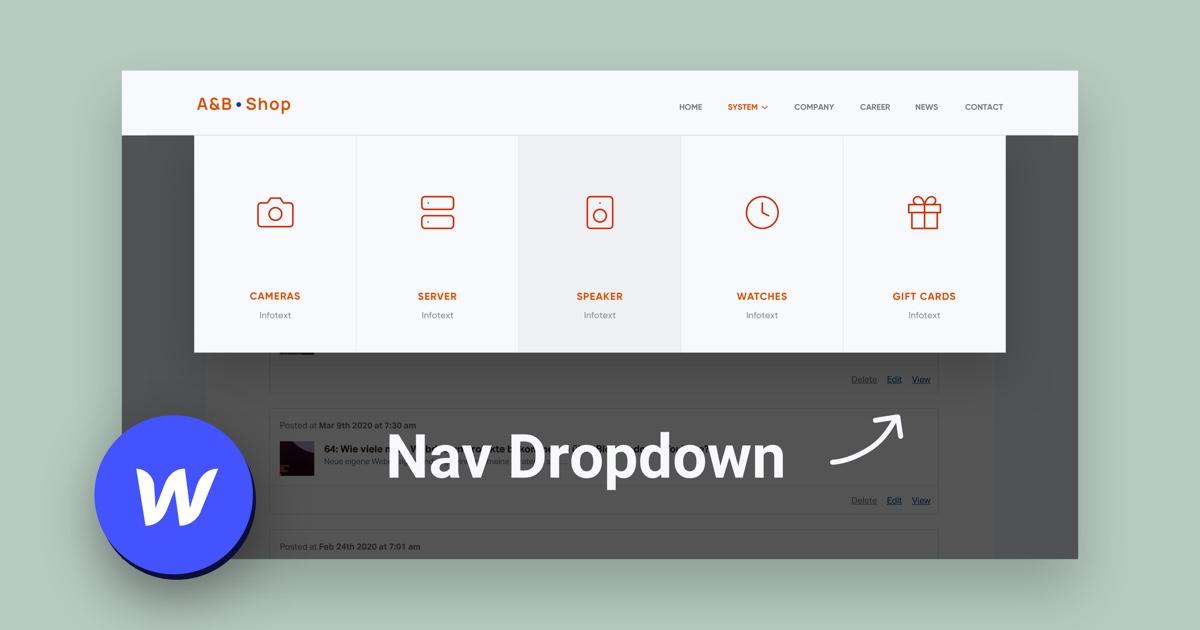 Eine eigene Dropdown Navigation in Webflow bauen – Tutorial