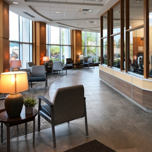 Interior of lobby waiting area for heart and vascular unit