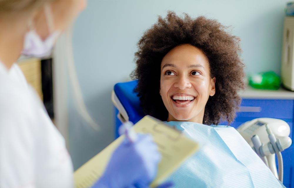 Smiling patient at clinic