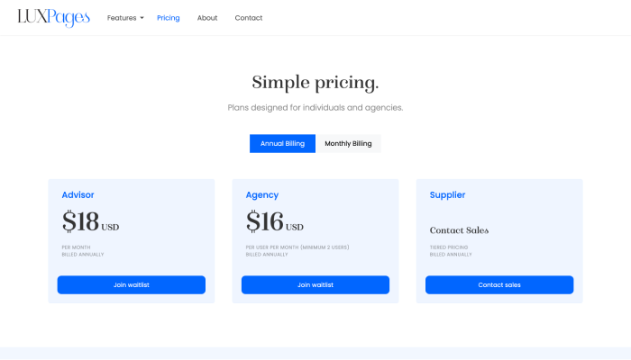 LUXPages Website Pricing Page